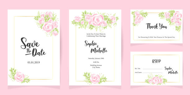 stockillustraties, clipart, cartoons en iconen met print bruiloft uitnodiging kaart sjabloon opslaan de datum floral set - save the date