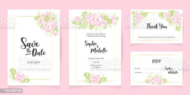 Drucken Hochzeit Einladung Sendekarte Vorlage Speichern Das Datum Blumenset Stock Vektor Art und mehr Bilder von Blume