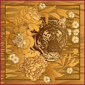 Print with animal tiger and flowers peonies.
