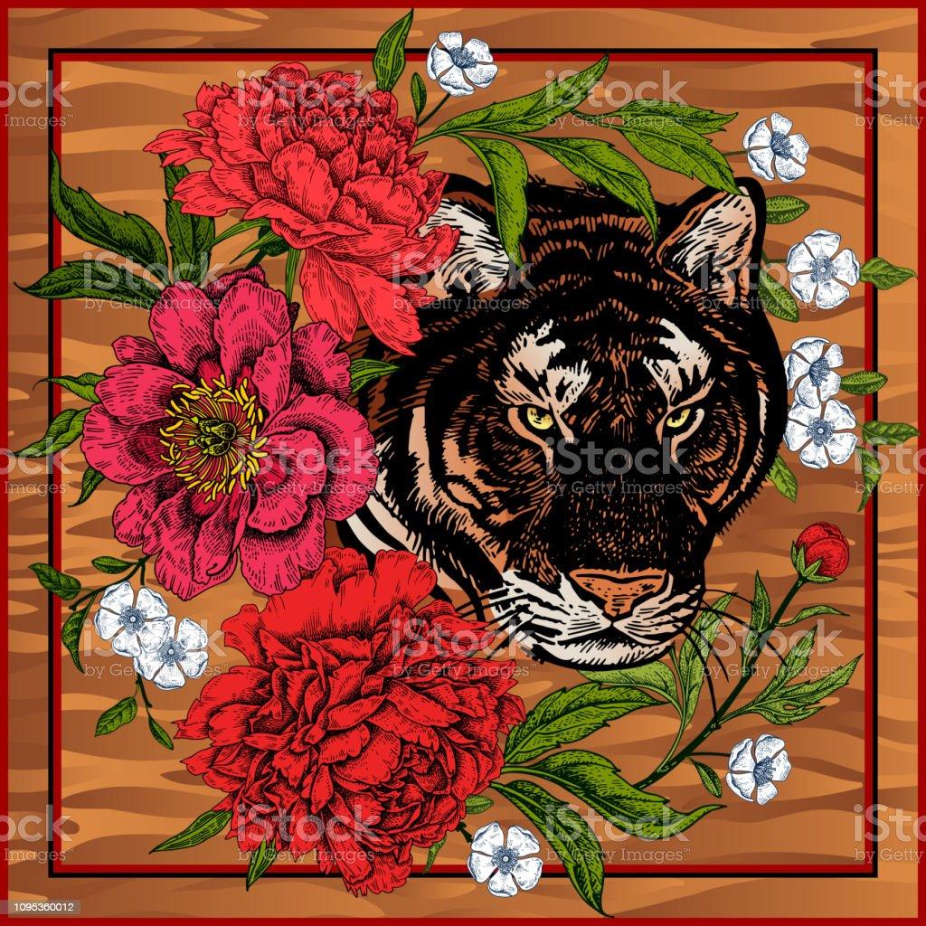 Drucken Sie Mit Tier Tiger Und Blumen Pfingstrosen Stock Vektor Art
