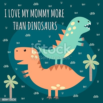 Print with cute dinosaurs