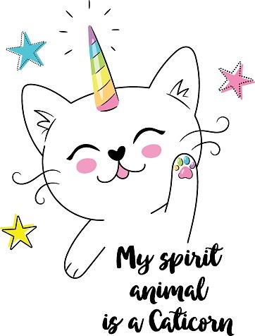 print with cute white cat unicorn or caticorn