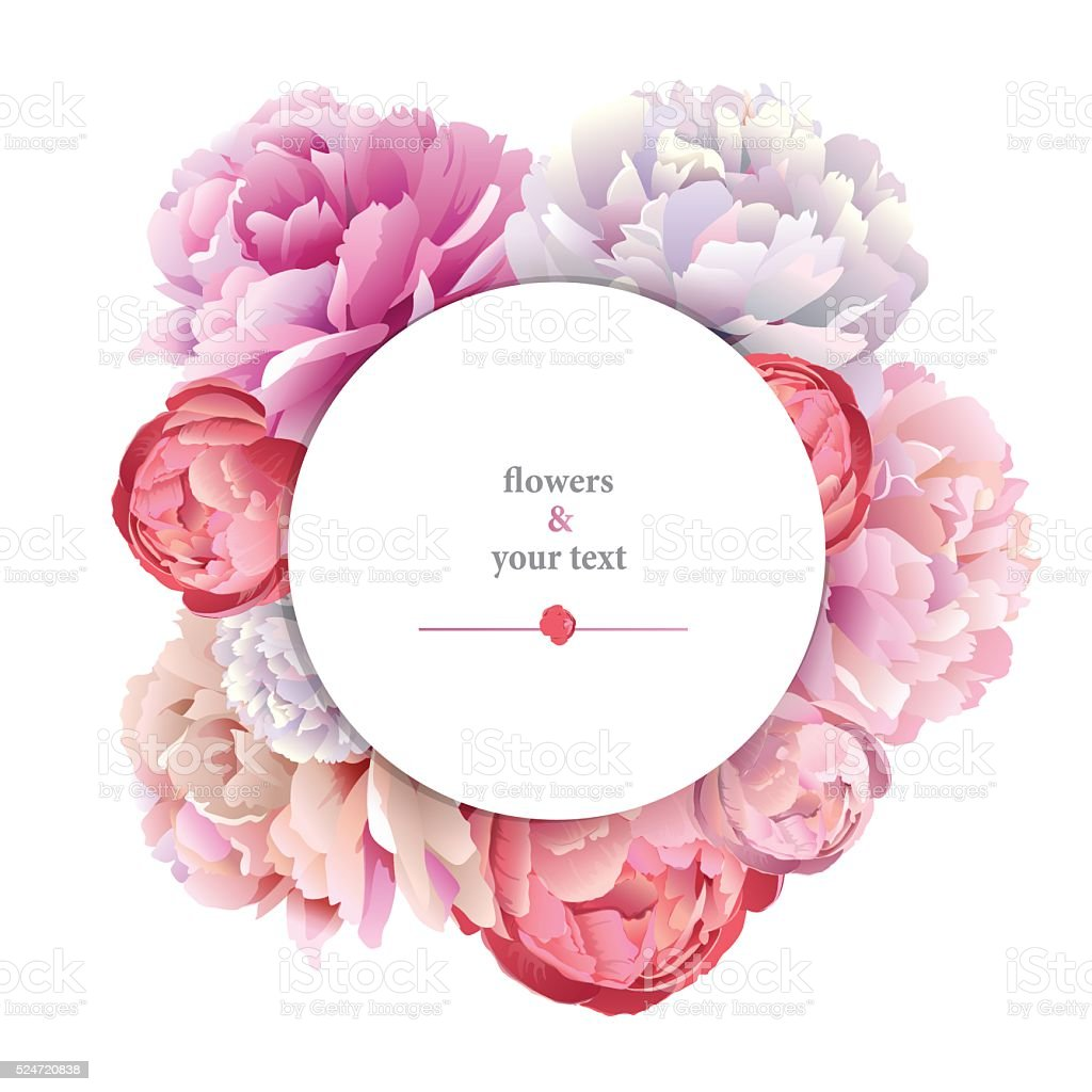 print with pink peony vector art illustration