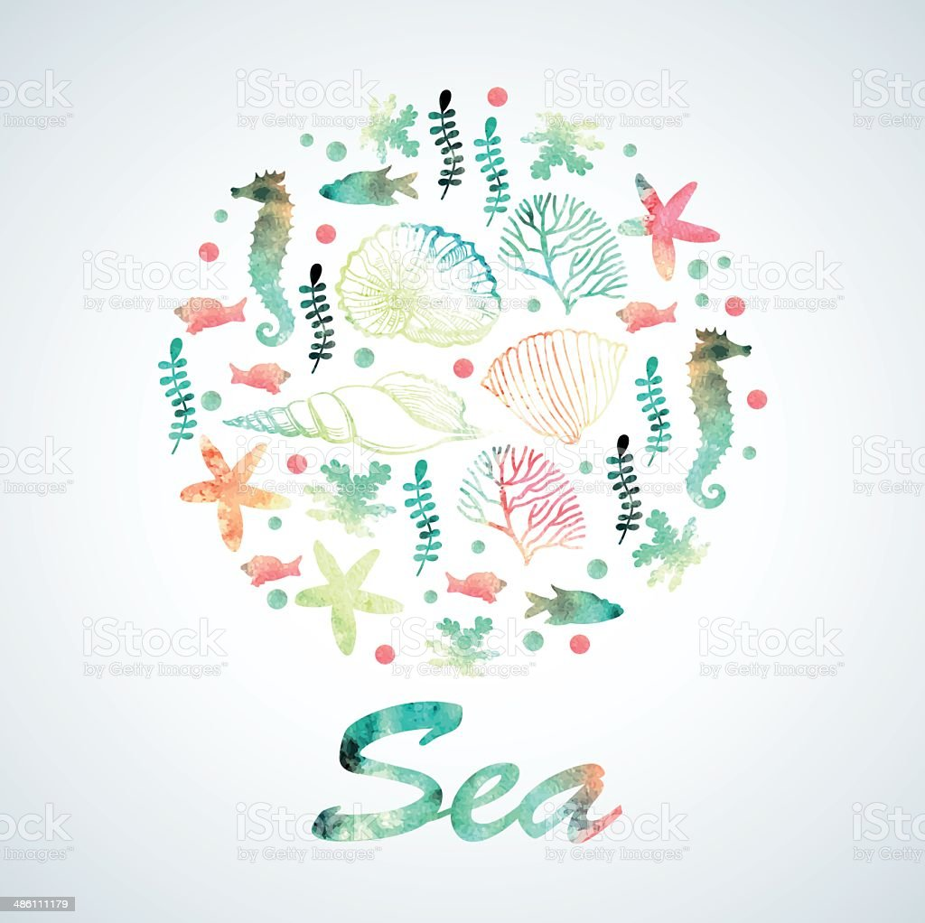 Print with watercolor marine motifs vector art illustration