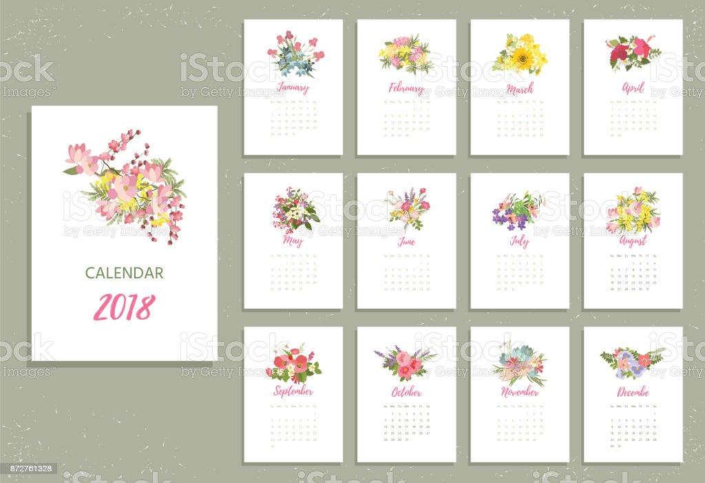 Para imprimir calendario de 2018 con flores muy coloridas - ilustración de arte vectorial