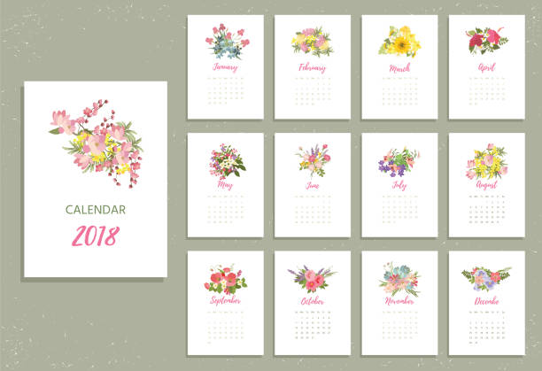 Printable 2018 Calendar with pretty colorful flowers vector art illustration