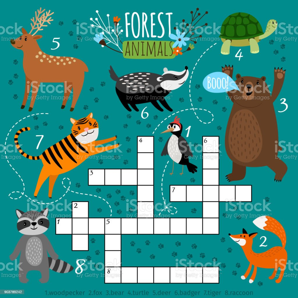 Printable Animal Crossword Stock Vector Art & More Images of ...
