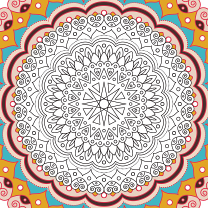 Printable antistress coloring book page for adults - mandala design, activity to older children and relax adult. vector Islam, Arabic, Indian, ottoman motifs