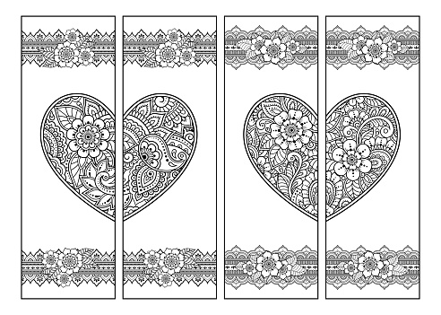 Printable bookmark for book - coloring. Set of black and white labels with heart and flower patterns in mehndi style. Sketch of ornaments for creativity of children and adults with colored pencils.