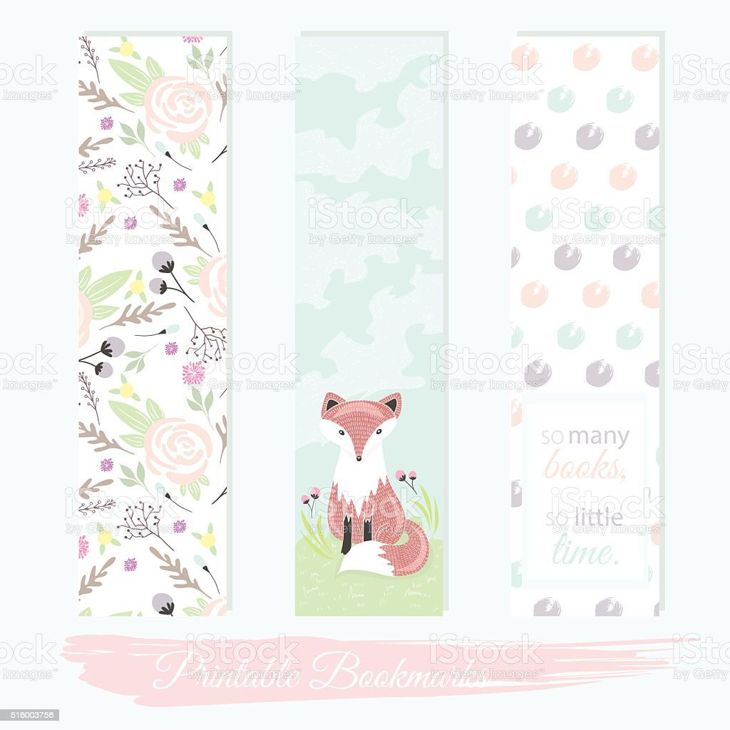 Printable bookmarks with flowers, fox vector art illustration