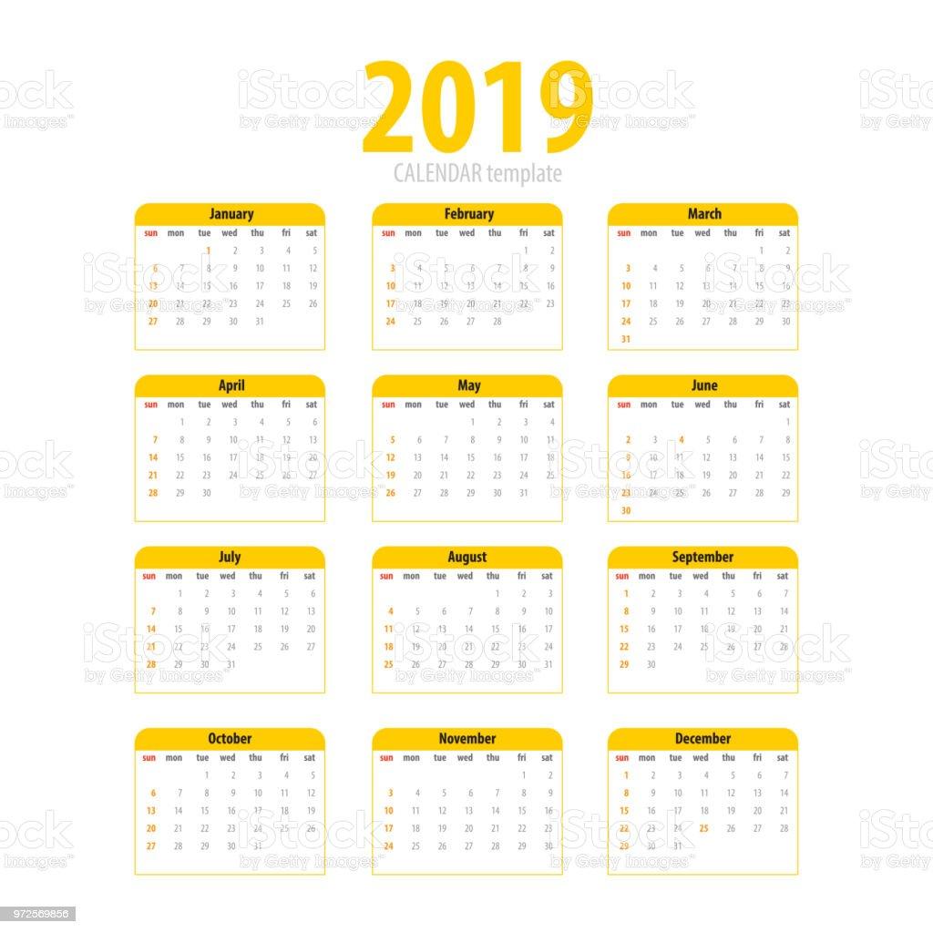 Ilustraci n de plantilla simple para imprimir calendario 2019 y m s banco de im genes de 2019 - Plantilla calendario de mesa ...