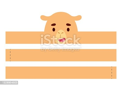 istock Printable camel paper crown. Diy cut party ribbon template for birthday, christmas, baby shower. Fun accessory for entertainment. Print, cut and glue. Vector stock illustration. 1328954503