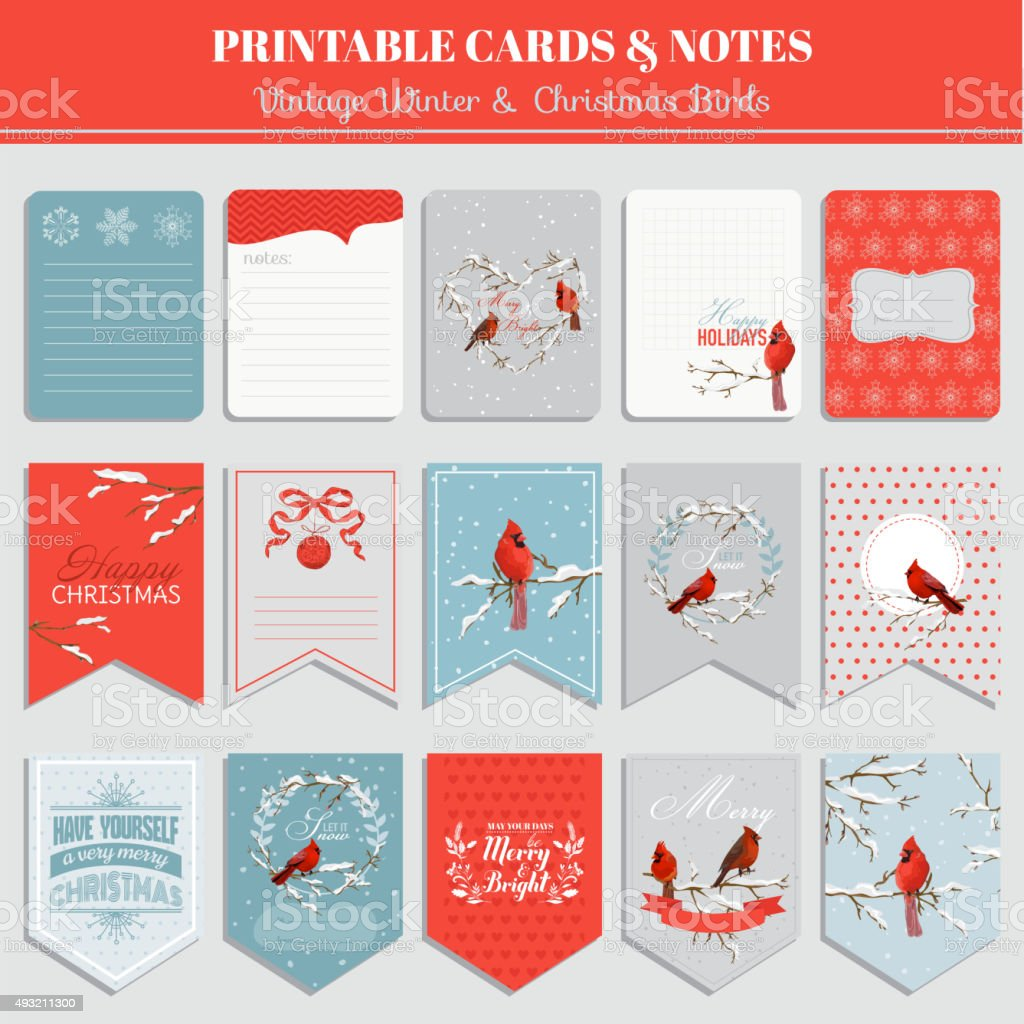 Printable Cards, Tags and Labels - Christmas Winter Birds Theme vector art illustration