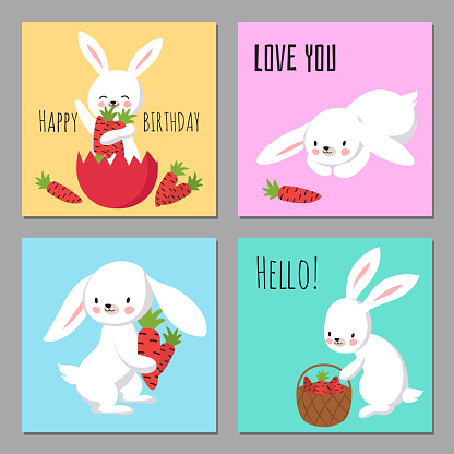 Printable cards with cartoon character bunnies with carrots