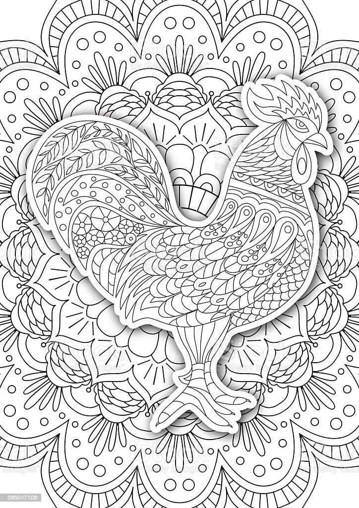 Printable Coloring Book Page For Adults Rooster Design Activity ...