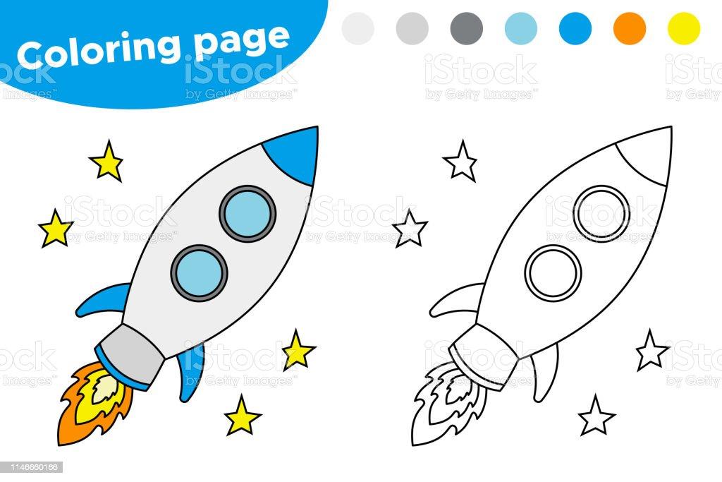 Kleurplaten Raketten.Afdrukbare Kleurplaat Met Raket Stockvectorkunst En Meer