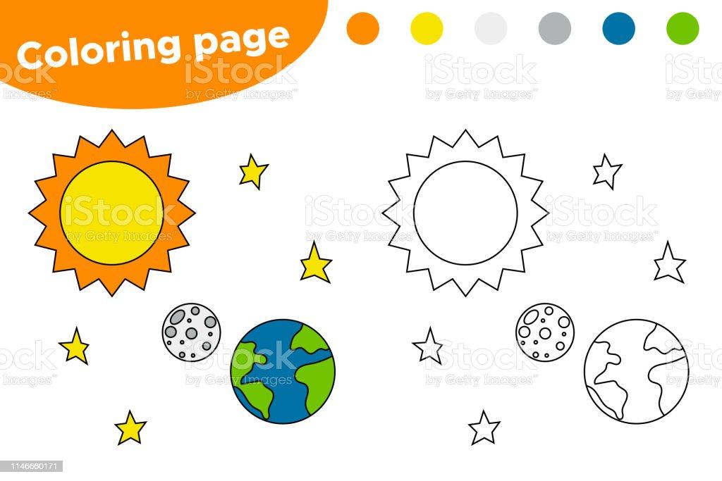 Ilustración De Página Para Colorear Imprimible Con Sistema Solar Sol