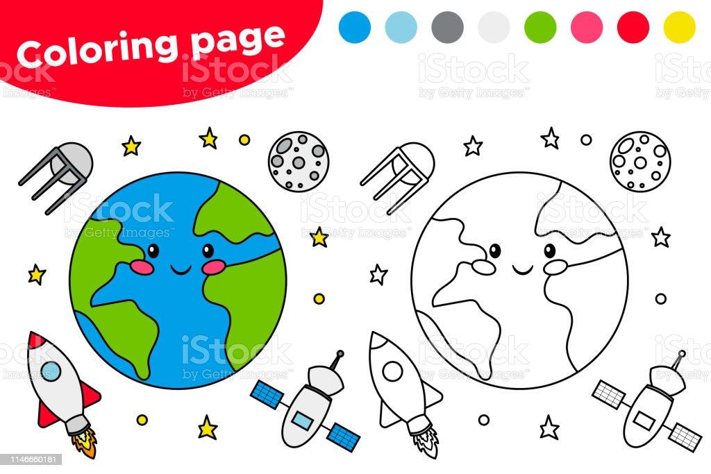 Dunya Uydu Ay Ve Roket Ile Yazdirilabilir Boyama Sayfasi Stok