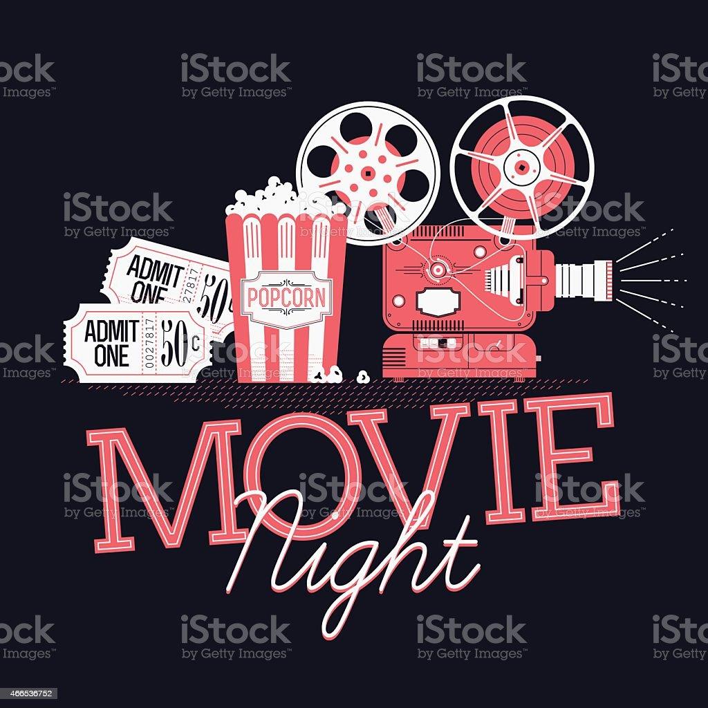 Printable design element on Movie Night event vector art illustration