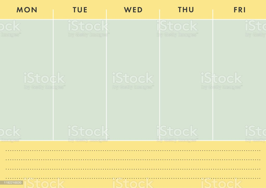A4 Printable Five Work Day Planner on the Yellow and Light Green...