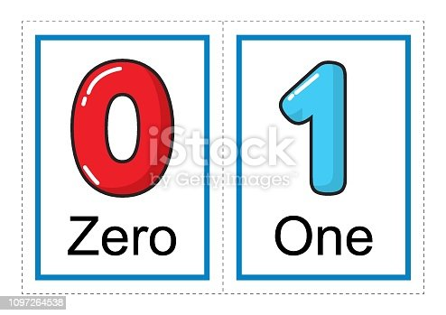 Printable flash card collection for numbers and their names for preschool / kindergarten kids   let's learn numbers illustration