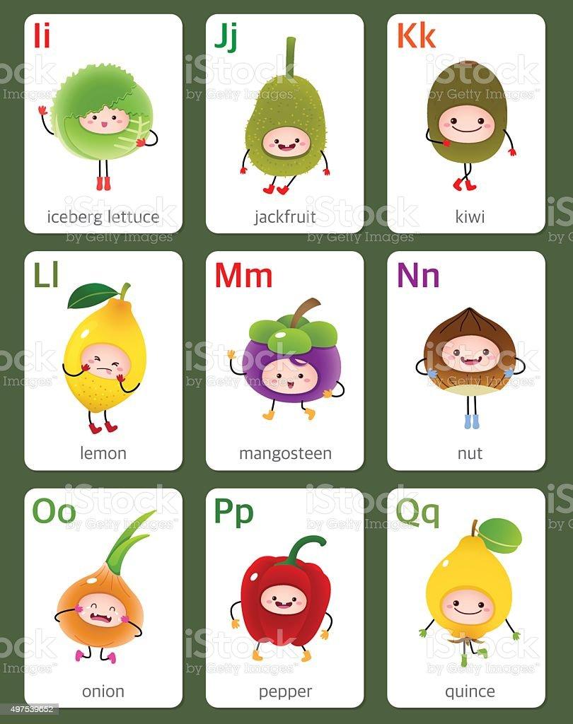 Vetores De Para Imprimir Flashcard Alfabeto De Frutas E Legumes E