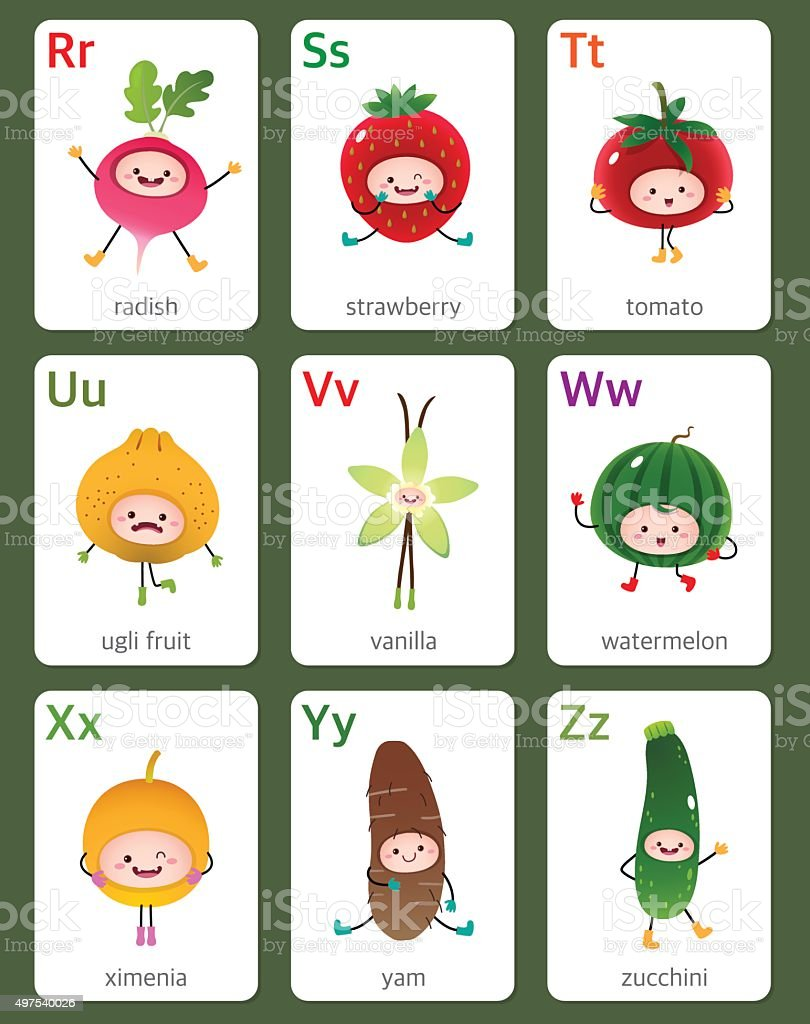Printable flashcard alphabet with fruits and vegetables vector art illustration