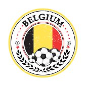 Printable grunge Belgium soccer label