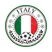 Printable grunge Italy soccer stamp