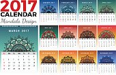 Printable monthly calendar 2017 design with colors of seasons and mehndi tattoo. 2017 wall calendar template start with Sunday and support for 8.5x11 inches. Vector illustration