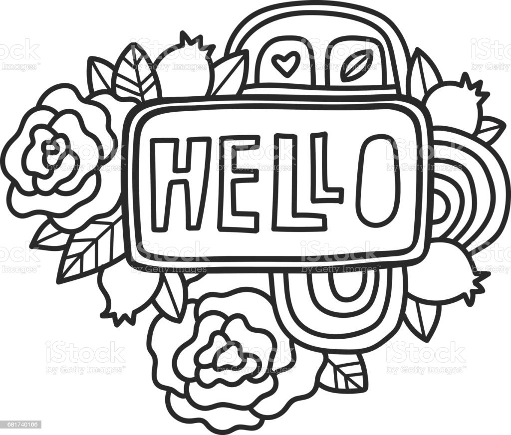 Printable Scrapbook Sticker HELLO Fun Summer Doodle Frame Floral Decoration Print