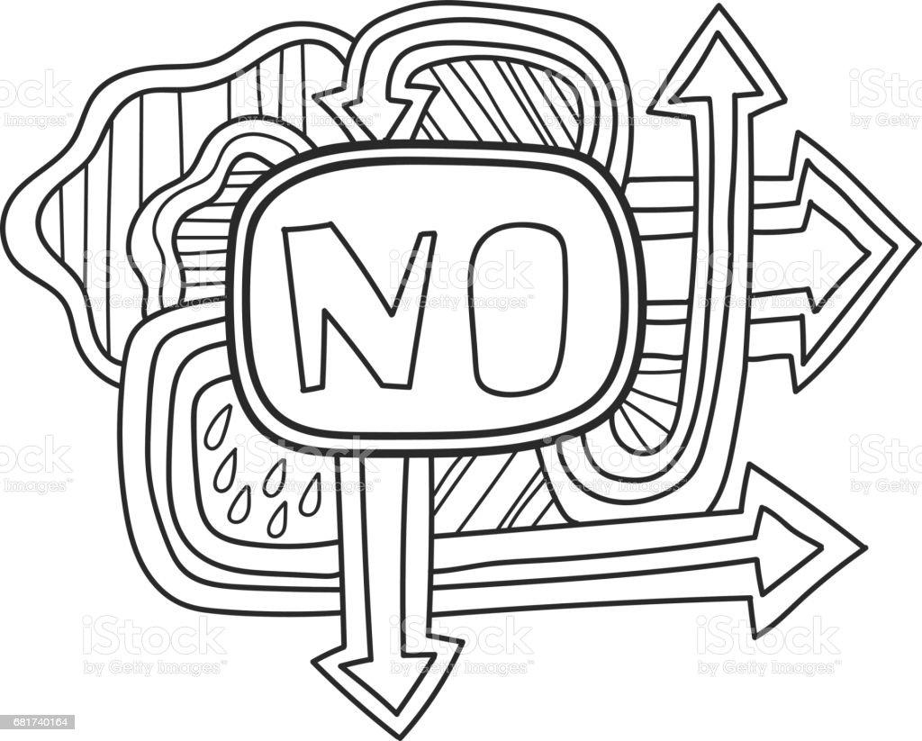 Yazdirilabilir Cikartma Etiket Hayir Eglenceli Yaz Doodle Kare