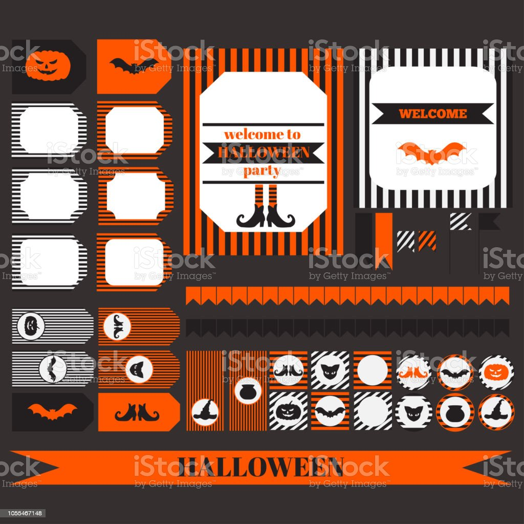 printable set of halloween party elements templates labels icons and