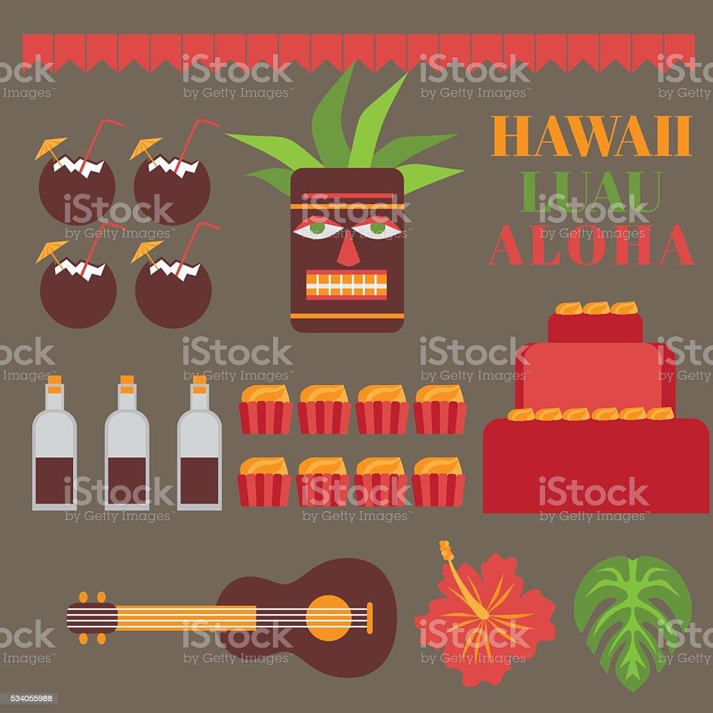 Printable Set Of Hawaii Party Elements Template Luau Invitation ...