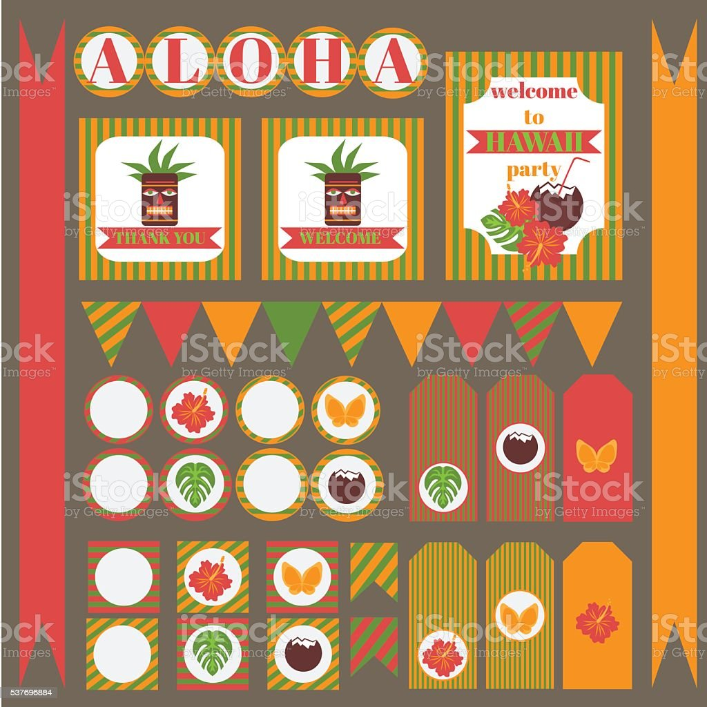 graphic about Printable Pictures of Hawaii called Printable Established Of Hawaii Bash Things Template Luau
