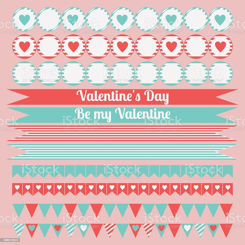 image regarding Happy Valentines Day Printable identify Printable established of saint valentine occasion components. Joyful Valentines Working day