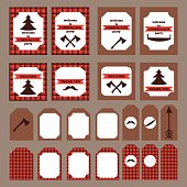 Printable set  vintage Lumberjack party elements. Templates, labels and wraps.