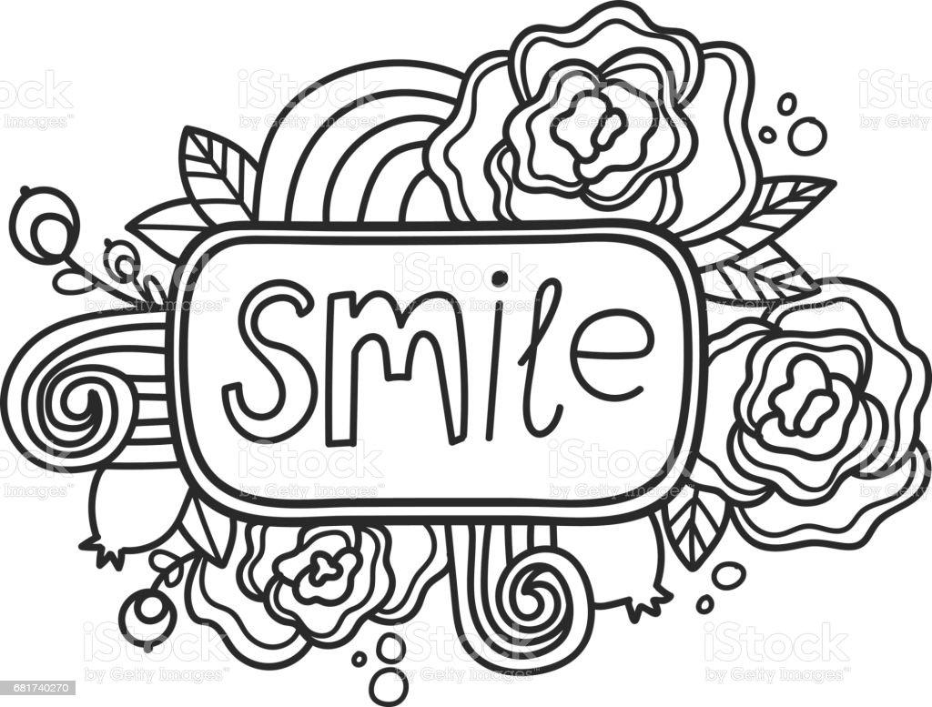 Yazdirilabilir Smile Etiket Sayfasi Eglenceli Yaz Doodle Cercevesi