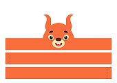 istock Printable squirrel paper crown. Party headband die cut template for birthday, christmas, baby shower. Fun accessory for entertainment. Print, cut and glue. Vector stock illustration. 1310352266