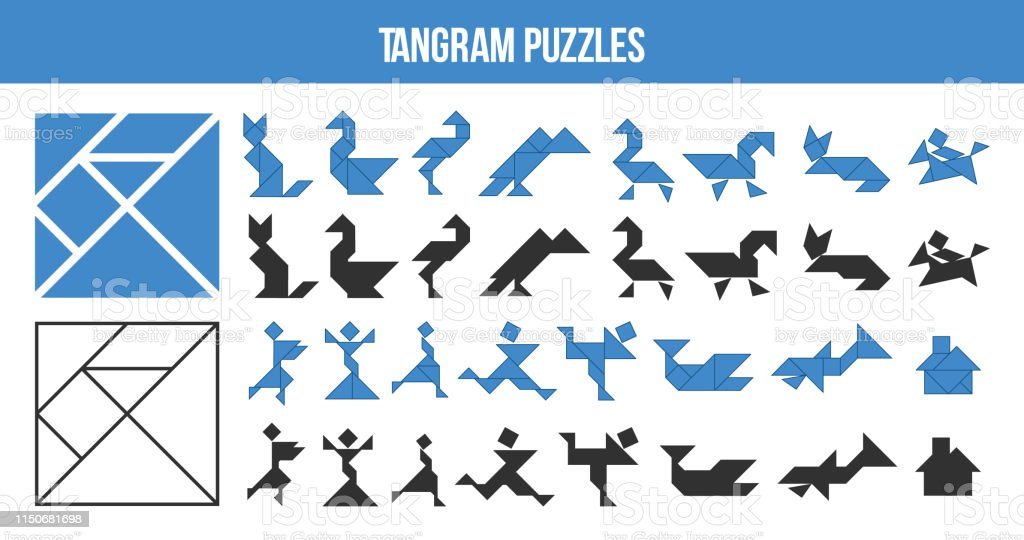 printable tangram puzzle game set of shapes for kids