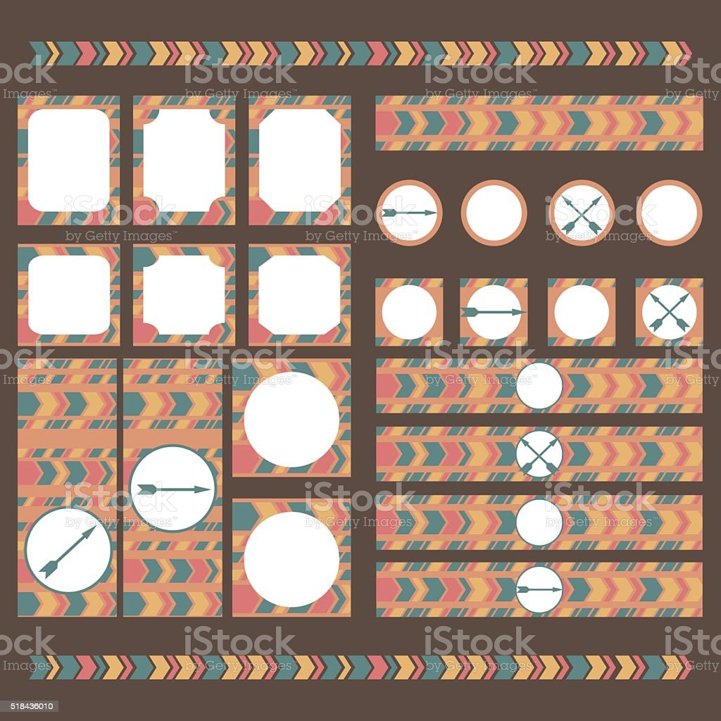 Printable tribal set of vintage boho party elements. vector art illustration