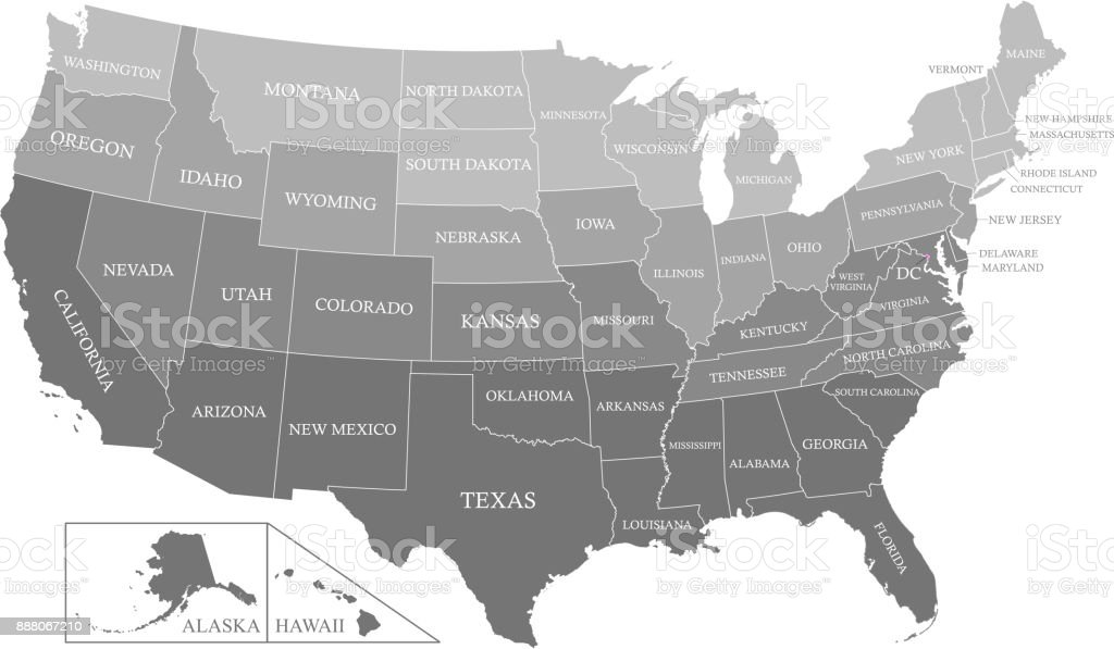 Printable Usa Map With States Labeled Grayscale Vector ...