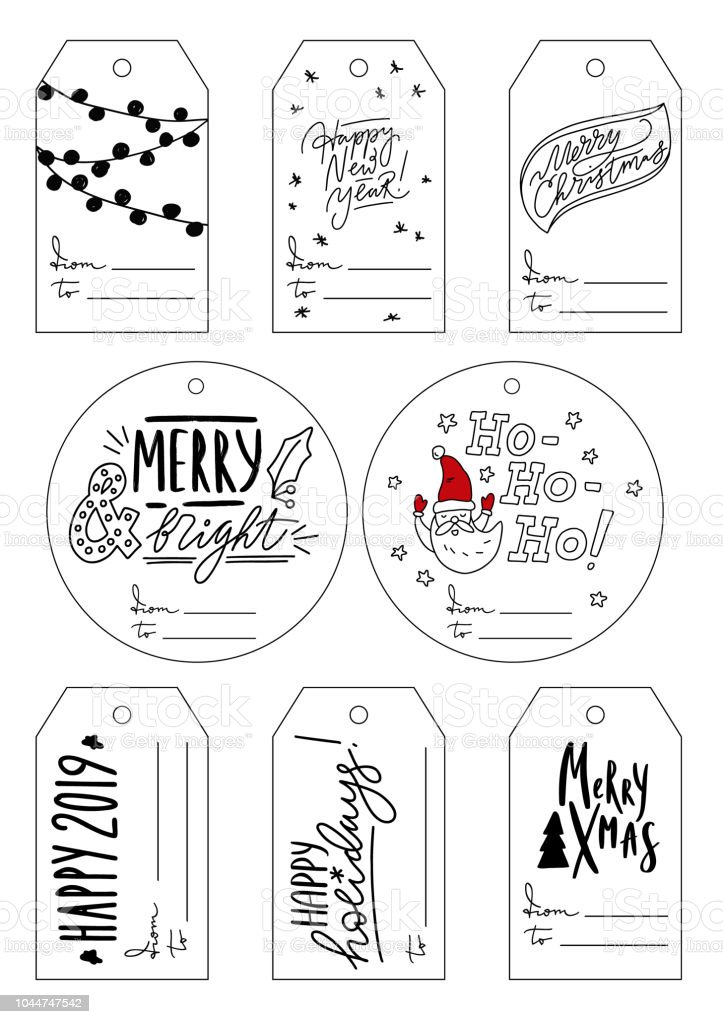 printable vector collection of christmas and new year gift tag
