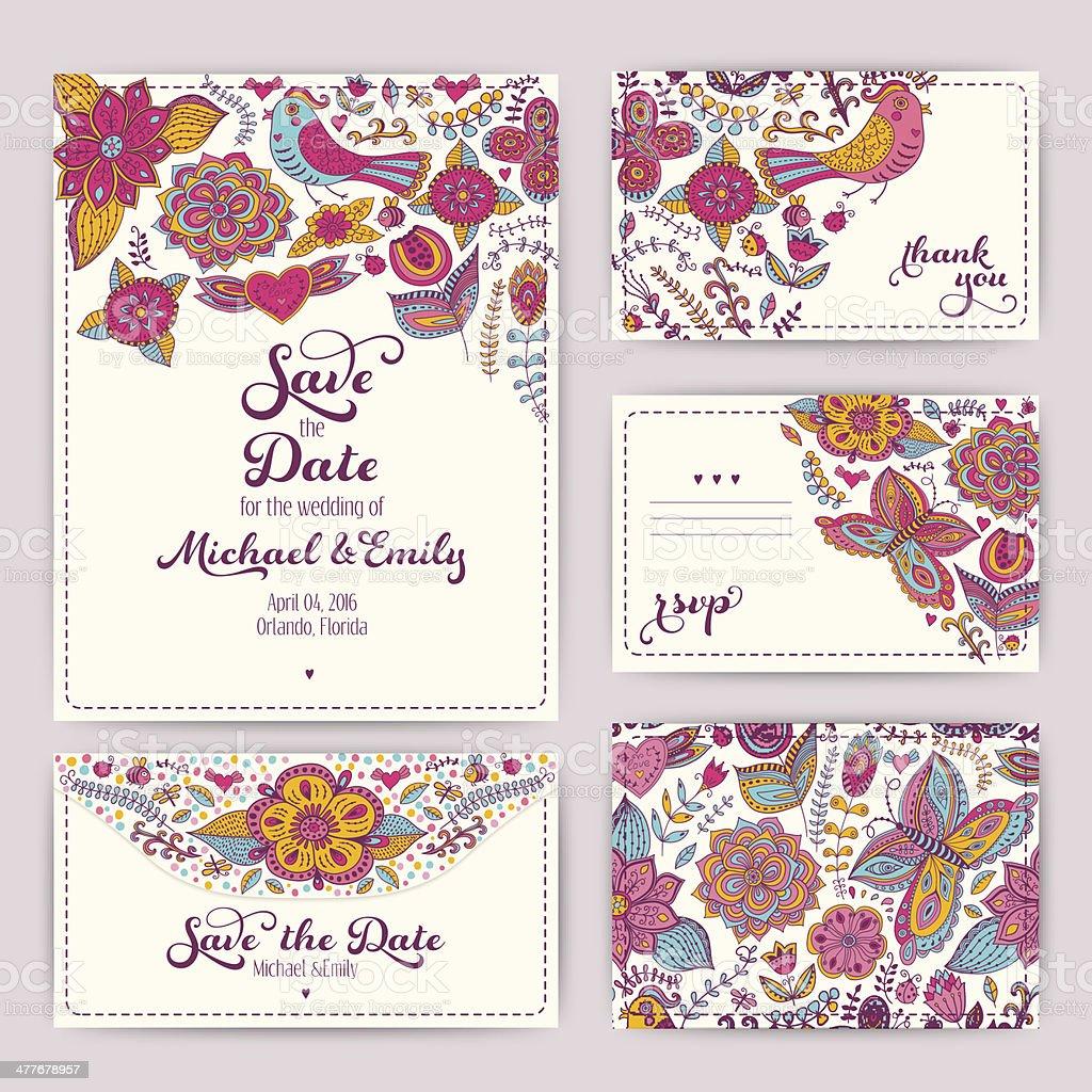 Printable Wedding Invitation Template vector art illustration