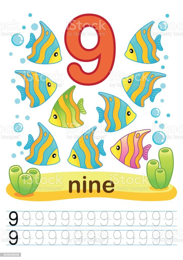 Printable Worksheet For Kindergarten And Preschool Training Exercises For  Writing Numbers Underwater Background With Marine Life Corals And Algae A  Bright Large Number And Samples For Writing Stock Illustration - Download  Image