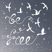 Be free. Inspirational quote about freedom. Modern calligraphy phrase with silhouette birds. Night sky pattern. Lettering in boho style for print and posters. Hippie quotes collection. Typography poster design.