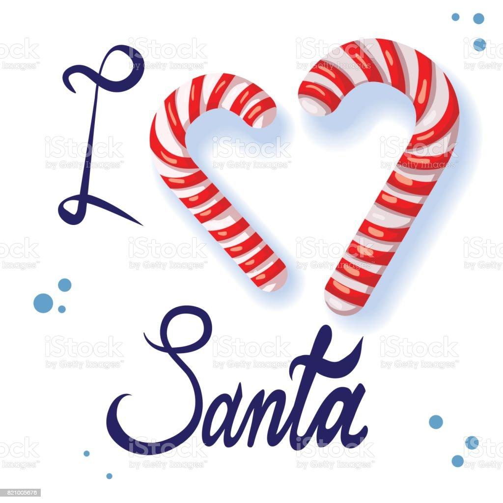 Download Printcaption I Love Santa Illustration On A Christmas ...