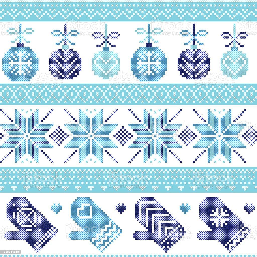 PrintChristmas pattern with Xmas baubles, gloves, stars, snowflakes, ornaments, snow ilustração de printchristmas pattern with xmas baubles gloves stars snowflakes ornaments snow e mais banco de imagens de arte e artesanato - assunto royalty-free