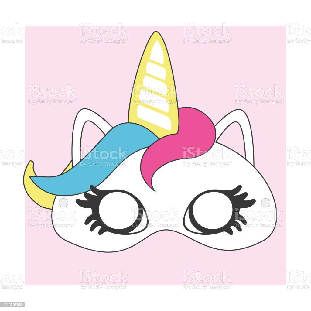 Ilustración De Printcute Máscara Unicornio Para Recortar Ideal Para