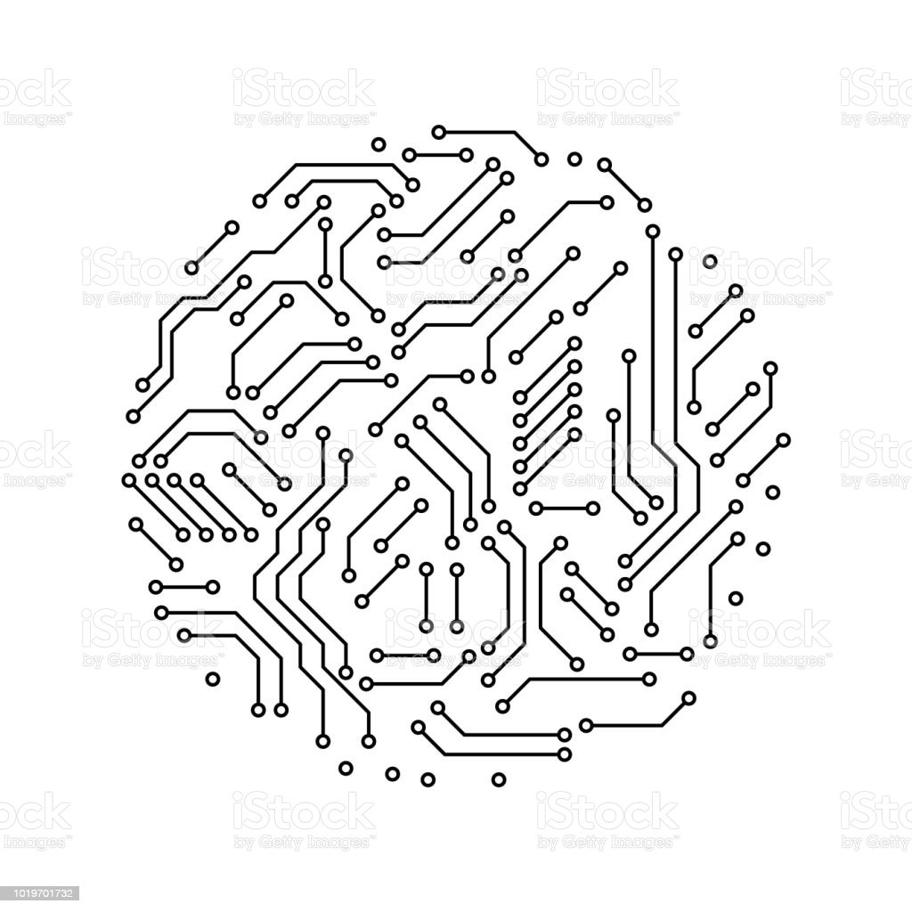 Printed Circuit Board Black And White Circle Shape Symbol Of Diagram Symbols Computer Technology Vector Royalty